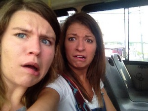 Abby and Me facing our fear of the bus.